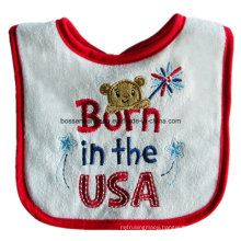 Custom Made Cartoon Logo Embroidered Cotton Terry Red Customzied Promotional Girl′s Baby Bib