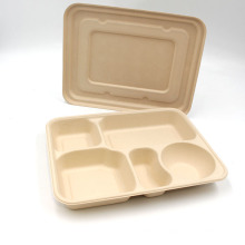Heavy Duty Durable Disposable Eco-friendly Natural Bagasse Plates 5 Compartment Food Tray