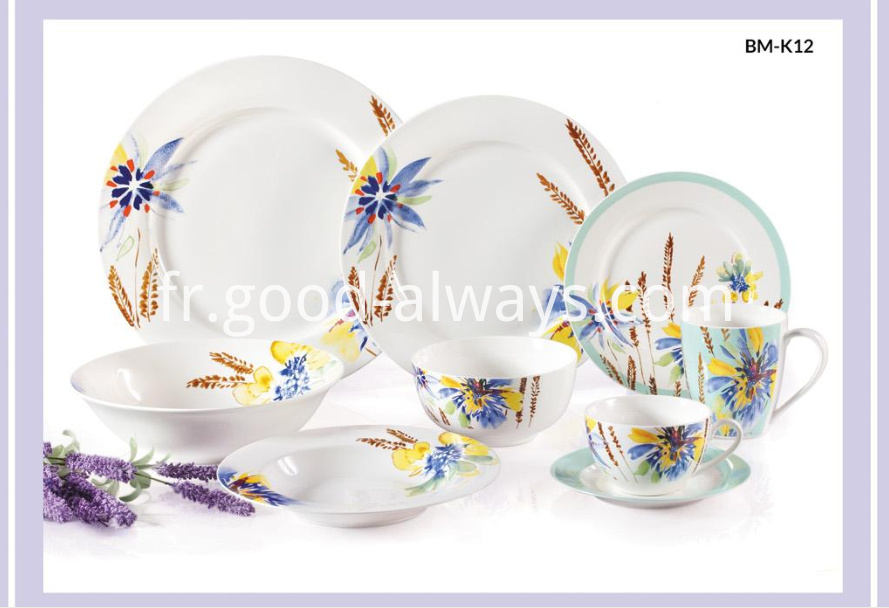 New Bone China Floral Decal Dinnerware