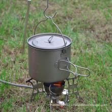 Camping Mug Foldable Handle Titanium Pot with Lid