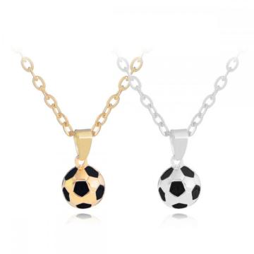 Football Soccer Ball Necklace Set Pendant Gold Silver Tone for Sports Lover Gym Best Friends Jewelry
