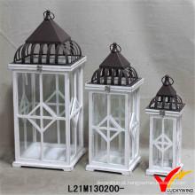 Antique White Rectangle lanternas de madeira para quintal