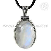 Pendentif argenté gracieux en pierres de lune en pierres précieuses en argent 925 bijoux en argent sterling bijoux en gros