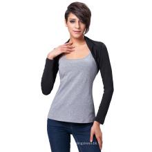 Belle Poque Femmes Confortable Modal Black Long Sleeve Bolero Shrug Tops BP000114-1