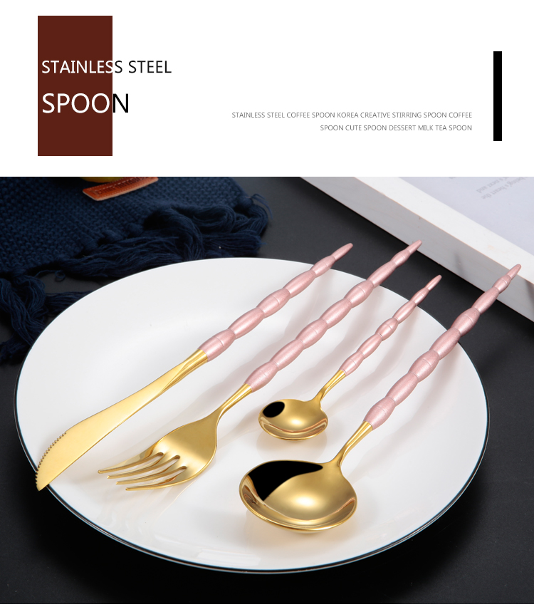 Color Handle Gold Cutlery