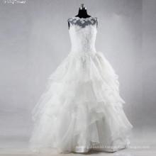 TW0158 Ruffles Sleevelss Boat Neckline Applique Witn Nice Beading Wedding Dress Bridal Gown