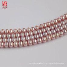 Bracelet en perles d'eau douce de lavande 8-9mm, bout en bout