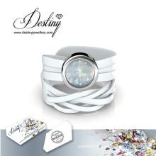 Destino joias cristal de Swarovski Wrap relógio de couro
