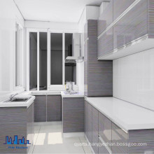 Handless MDF High Gloss UV Kitchen Cabinets