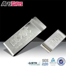 Clips promotionnels en métal faux cuir d'autruche grain d'argent