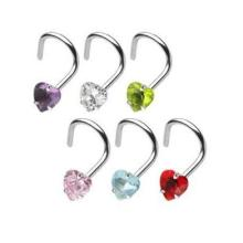 Nose Screw with Prong Set Gem Heart