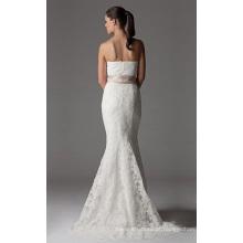 Vestido de noiva trompete sereia sem alças capela trem renda fita
