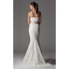 Trompeta sirena sin tirantes capilla tren encaje cinta vestido de novia