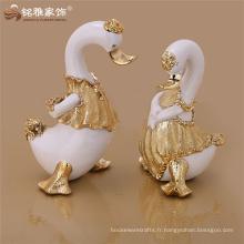 Nouveau design décoratif décoratif mignon figurines de canard résine artisanat pour bureau d'hôtel décoration de table