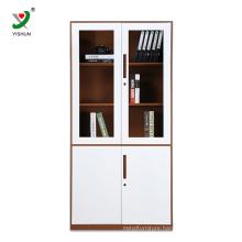 swing 2 door glass metal office filing cabinet with shelves