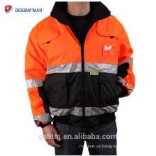 ANSI Clase 3 Personalizado de alta visibilidad Chaqueta de seguridad de invierno reflectante Ropa de trabajo naranja Reversible Hi Vis con capucha Parker