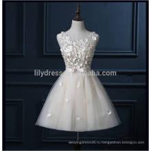 Реальный образец высокое качество полный ручной работы цветы Кот короткие платья выпускного вечера для подростков 2016 с бантом кружева Вечерние платья ML113