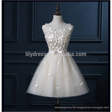 Real Sample High Quality Full Handmade Flowers Ivory Short Prom Dresses For Teens 2016 With Bow Sash Lace Formal Gowns ML113
