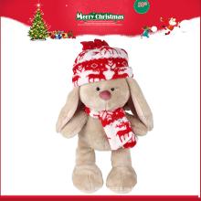 Muñeca rellena al por mayor Juguete felpa del conejo de la pierna larga con el sombrero y la bufanda