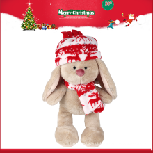 Atacado de pelúcia boneca longa perna coelho brinquedo de pelúcia com chapéu e cachecol