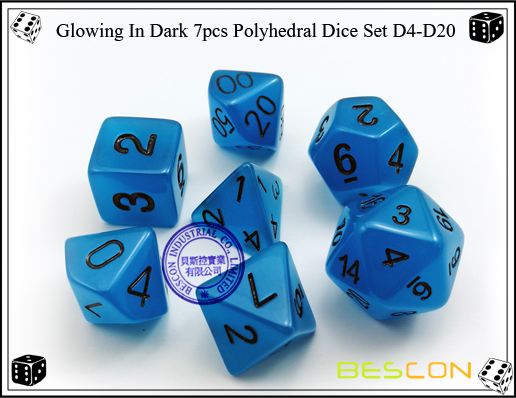 Glowing In Dark 7pcs Polyhedral Dice Set D4-D20-7