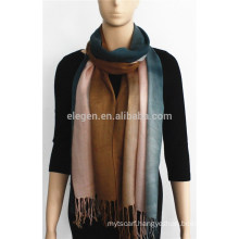 Three-color Gradient Acrylic Scarf with fringe