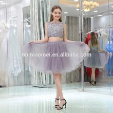 2017 vente Chaude sans manches genou longueur gris couleur grande taille femmes robe de soirée avec fermeture à glissière design