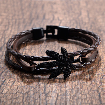 Womens bện da maple leaf bracelet