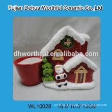Rojo, navidad, casa, diseño, cerámico, flor, pote