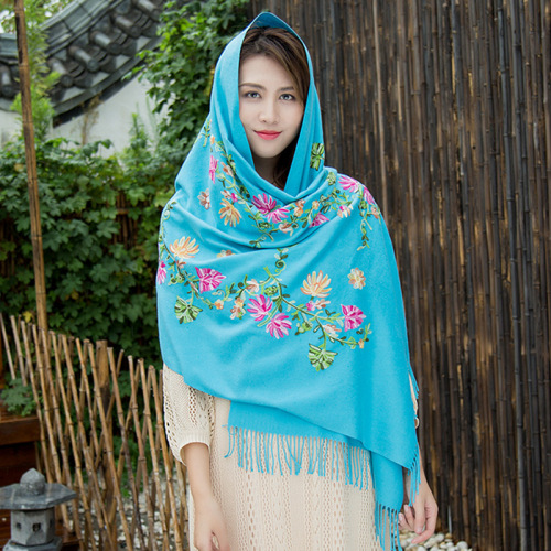 Frauen Retro Taschentuch Stickerei Winter Pashmina Schal
