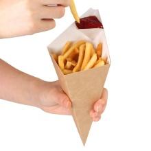 logotipo offset impresso cone de papel Kraft marrom para batatas fritas embalagens de waffle cone de papel descartável de batatas fritas