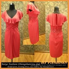 Festliche Abendkleid Kurzes rotes Abendkleid Dunkles V-Ausschnitt Dame Dress BYE-14090