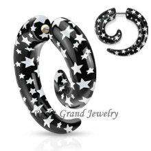 Star Logo Print Acrylique Faux Spirale Oreille Piercings