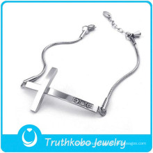 TKB-B0124 Wholesale silver jewelry adjustable snake chain rhinestone crucifix 316L stainless steel women bracelet