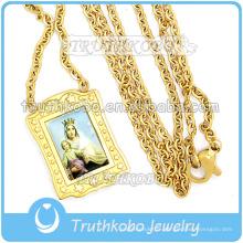 Bijoux simples Religieux Croix Charme En Acier Inoxydable Prière Vierge Marie Or 18K Chaîne Lien Chaîne