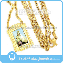Simple Jewelry Religious Cross Charm Stainless Steel Prayer Virgin Mary 18K Gold Link Chain Necklace