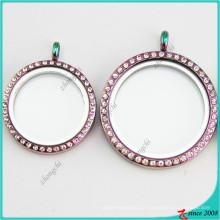 Venda quente rodada jóias de medalhões de vidro do arco-íris