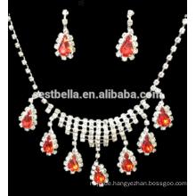 Günstige Schmucksache-Sätze Partei-Brautrhinestone-Halskette und Ohrringe BridalJewelry stellt Entwurf für Hochzeit ein