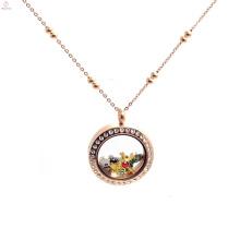Мода из нержавеющей стали розового золота с плавающей медальон мяч цепь