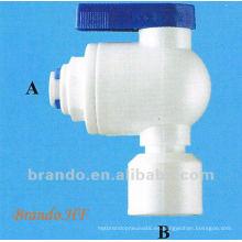 NPT Rosca POM Válvula de bola con conexión rápida Conector utilizado en tratamiento de agua