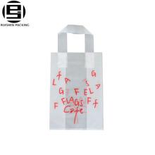 Saco de compras forte feito sob encomenda impresso do HDPE do saco do punho do laço das letras bonitas para o café ou o chá
