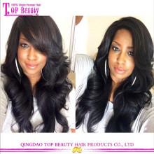 Мода волнистые 100% девственница волосы дешевые кружева фронта парик боковая часть парик фронта шнурка с волосами младенца