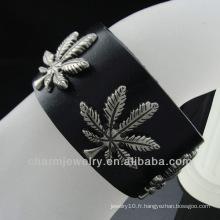 Vente chaude 2013 Ganja Leaf charme Bracelet en cuir noir pour homme BGL-001
