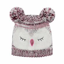 Enfants bébé enfants tricoté hibou impression chapeau de broderie bonnet chaud (hw632)