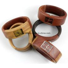 Relógios de madeira de couro personalizados Relógio de quartzo de madeira com pulseira de senhora