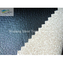 Black Embossed PU Leather Fabric/Faux PU Leather Fabric