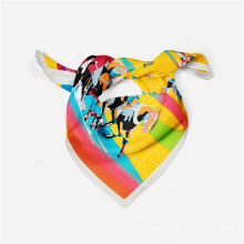2021 New Luxury Brand Design Horse Pattern Small Neck Wraps Stylish Lady Polyester Silk Square Hair Scarf