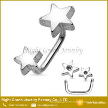 Оптовая двойной звезды 316L Хирургическая Нержавеющая сталь с наружной резьбой для бровей кольцо