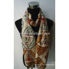 Moda geométrica impresa rayón bufanda