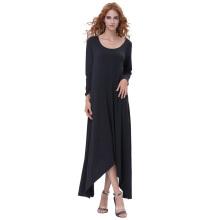 Катя Касин женские случайные свободные длинным рукавом экипаж шеи черный нерегулярные Хем платье KK000711-1